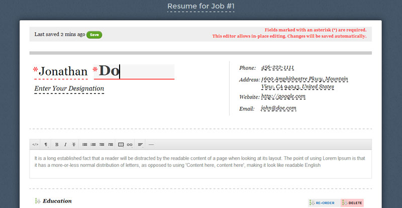 Resumonk v2 – DOC format support, private resumes, easy to use editor and lots more!